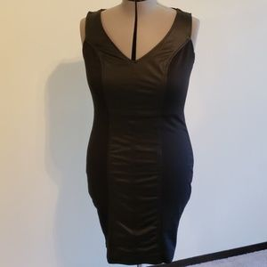 Black sheath dress with faux leather panel